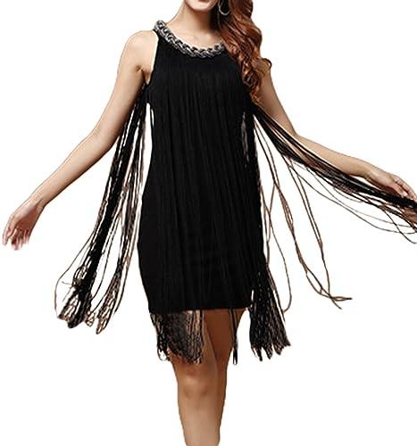 VSVO Women's Chain Neck Long Fringe Tassel Dress