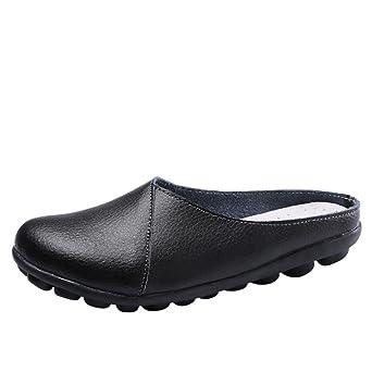hausschuhe damen pantolette FEITONG Sommer Slip-on Hausschuhe Damen Mokassins Bootsschuhe Leder Loafers Freizeit...