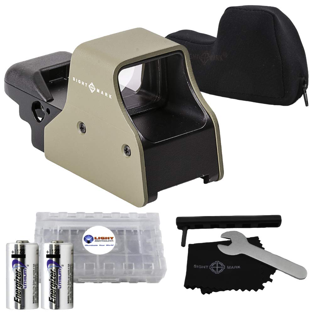 Sightmark Ultra Shot Plus QD Reflex Sight, Red and Green Sight, Flat Dark Earth Bundle with 2 Extra CR123 Batteries and a Lightjunction Battery Box by Sightmark