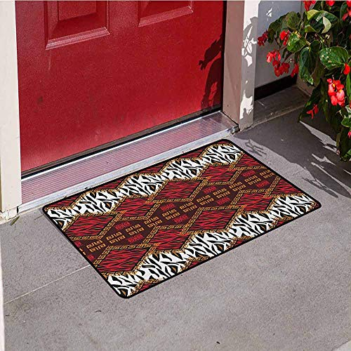 (Gloria Johnson Safari Welcome Door mat African Animal Skin Stylized Stripes in Diamond Pattern Native Tribal Artwork Door mat is odorless and Durable W23.6 x L35.4 Inch Red and Brown)