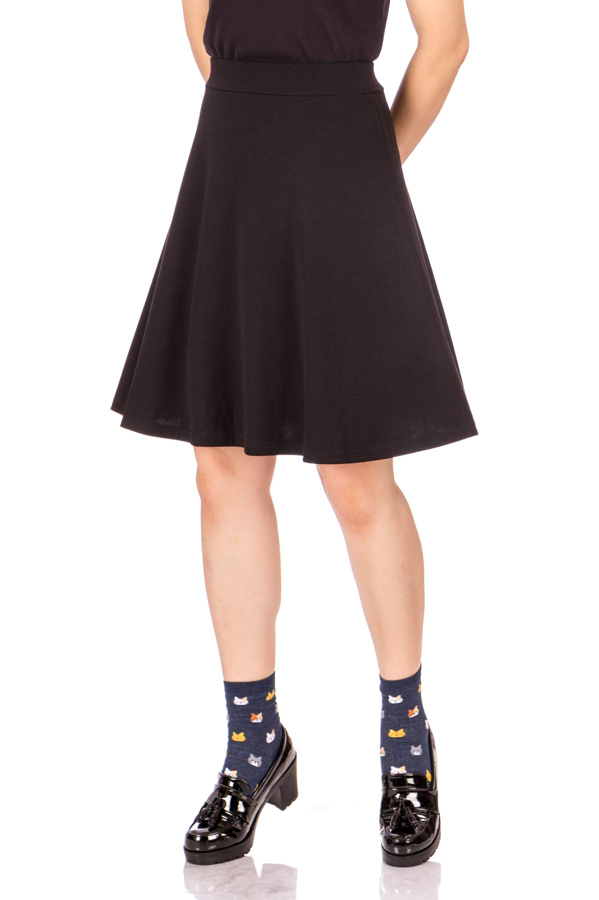 Dani's Choice Simple Stretch A-line Flared Knee Length Skirt