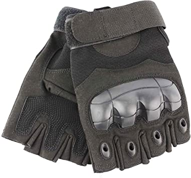Half Finger Tactical Rubber Knuckle Gloves Paintball Fingerless Cycling Shooting