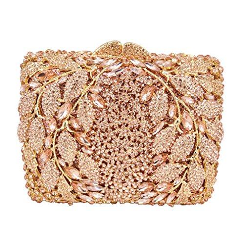 Mainkiki Fashion Leaves Pattern Luxury Champagne Crystal Diamond Clutch Bag Square Party Purse Female Pochette Box Evening Bag Handbags Silver