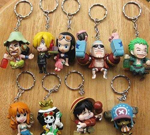 One Piece the Straw Hat Pirates 9pcs Doll Keychain colorful 8cm by Powerangle