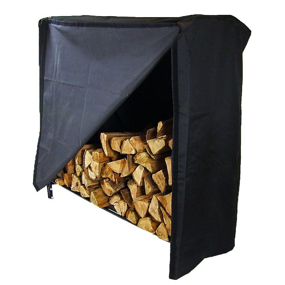 Sunnydaze 4-Foot Decorative Firewood Log Rack & Cover Combo