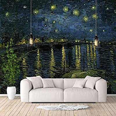 Majestic Visual, Classic Artwork, Wall Murals for Bedroom Starry Night by Van Gogh Famous Paintings Large Removable Wallpaper Peel and Stick Wall Stickers