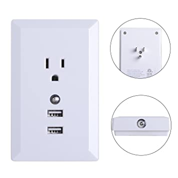 Hsicily wall outlet plug high speed usb ports charger socket hsicily wall outlet plug high speed usb ports charger socket adapter 15 amptr receptacle with led mozeypictures Image collections