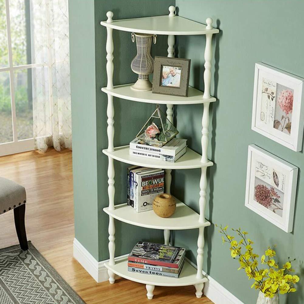 DINGJUEN コーナーラック木製の本棚の花フレームの家の装飾フレームを回す4層、5層 (色 : 白, サイズ さいず : 408 * 408 * 1530mm) B07JKGQQ3M 白 408*408*1530mm
