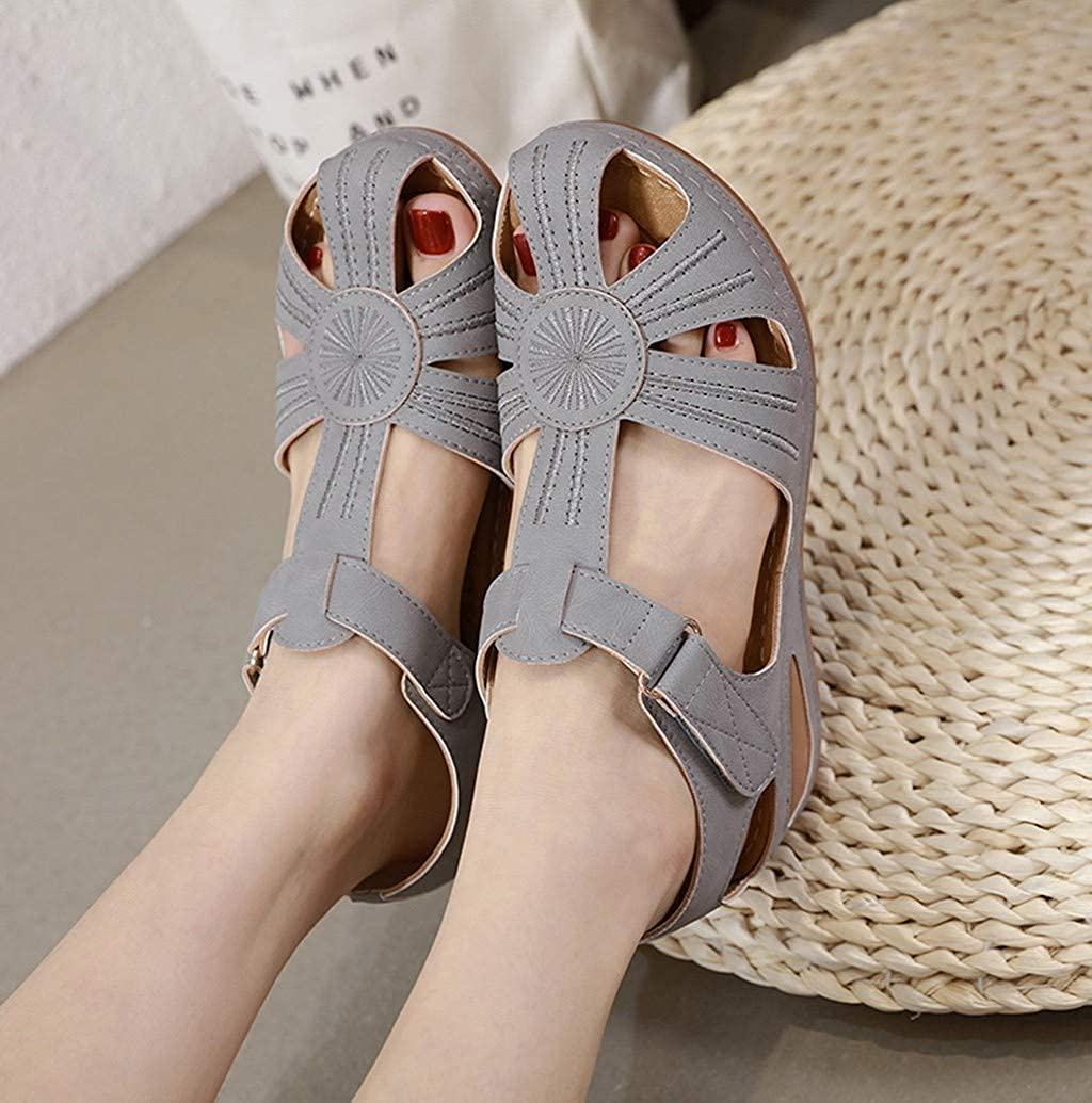 Nevera Hollow Out Sandals for Women Summer Beach Wedge Sandals Comfortable Faux Leather Non-Slip Outdoor Shoes