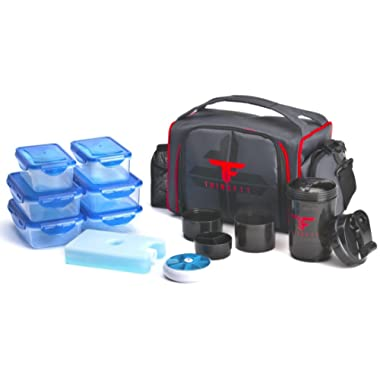 ThinkFit Insulated Lunch Boxes (Red/Blue) With 6 Portion Control Containers, Reusable Ice Pack, Pill Box, Shaker Cup, Shoulder Strap and Extra Storage Pocket Best Lunch Box For Portion Control Diet