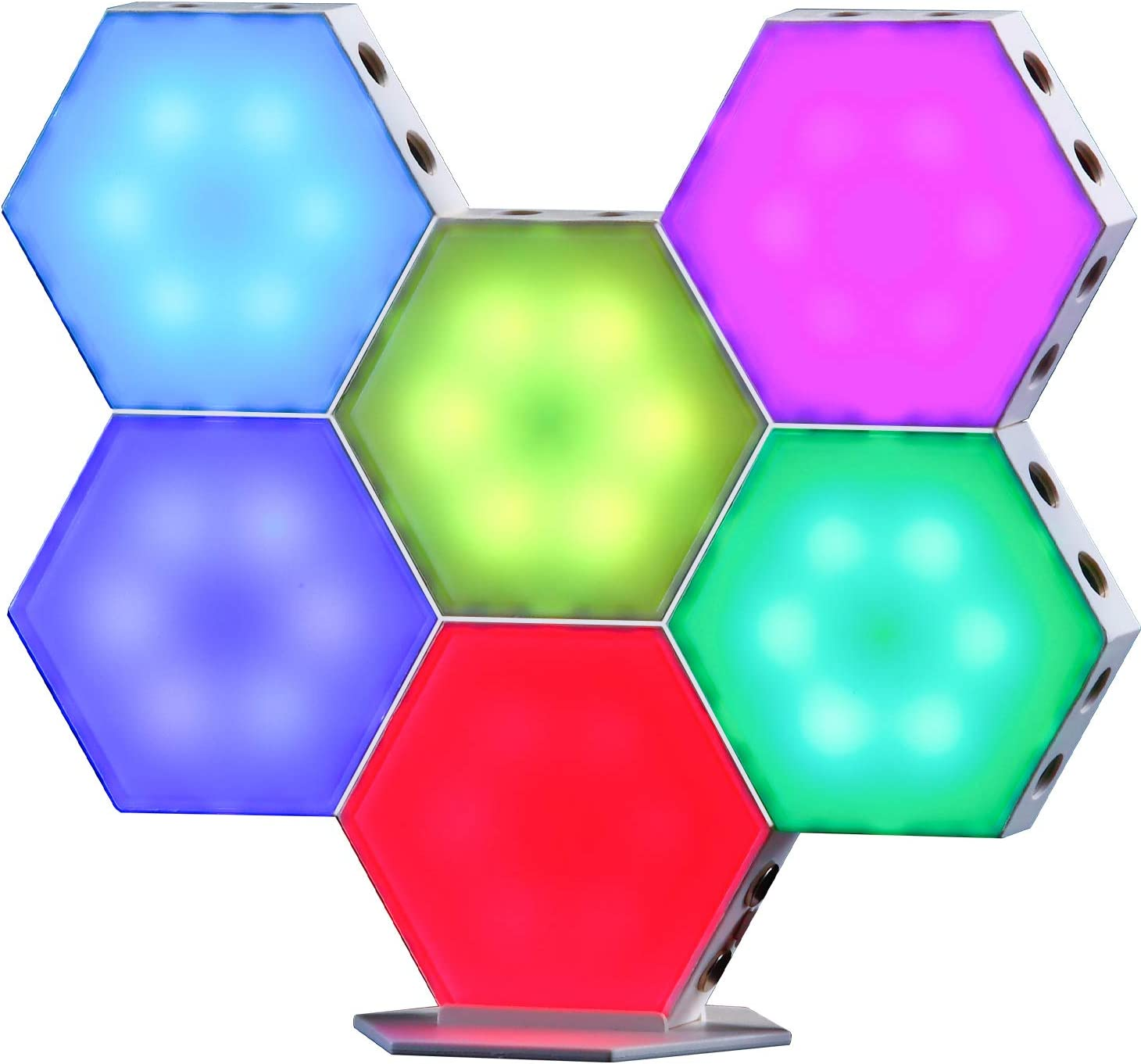 TACAHE Touch Sensitive Hexagon Wall Light - RGB Color Changing LED Light Panel - DIY Geometric Modular with USB Port, Suitable for Gaming Desk, Table Mood Lighting 3.62