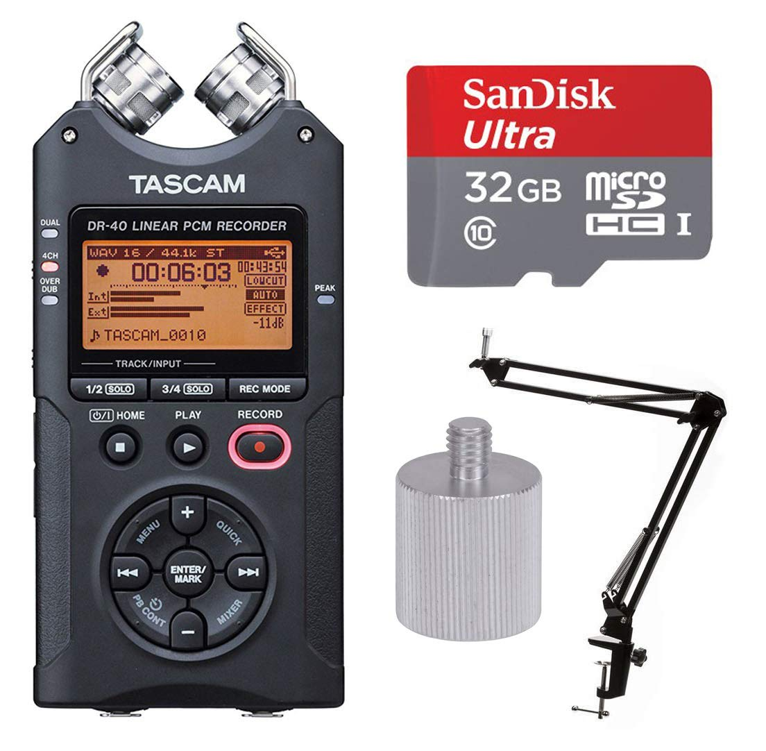 Tascam DR-40 Handheld 4-Track Recorder with 32 Gig Micro SD Card, Knox Boom Arm and Adapter