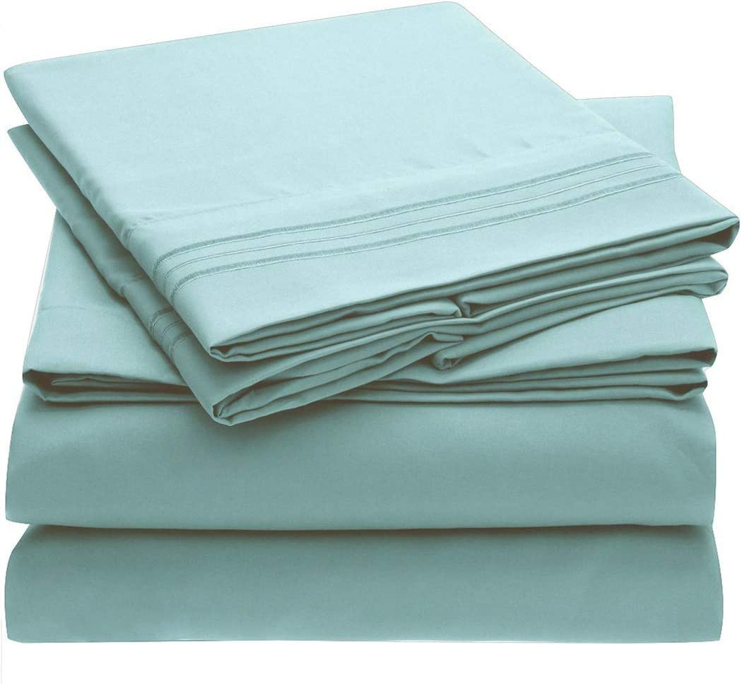 Mellanni Bed Sheet Set - Brushed Microfiber 1800 Bedding - Wrinkle, Fade, Stain Resistant - 4 Piece (Cal King, Spa Blue)