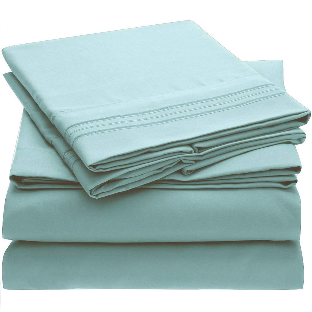 Mellanni Bed Sheet Set - Brushed Microfiber 1800 Bedding - Wrinkle, Fade, Stain Resistant - 4 Piece (King, Spa Blue)