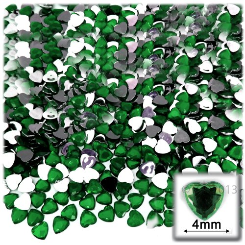 Emerald Gemstone Heart (The Crafts Outlet 288-Piece Flat Back Heart Rhinestones, 4mm, Emerald Green)
