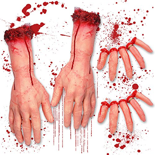 Pawliss Halloween Scary Decorations Fake Bloody Body Parts Props, Severed Arms Hands & Fingers