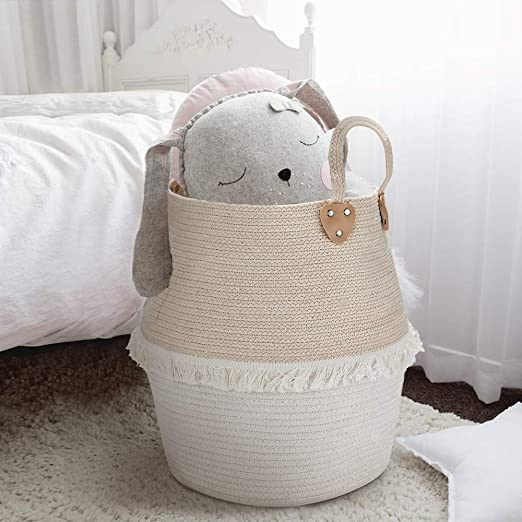 Amazon.com: Cesta de almacenamiento de cuerda tejida – Cesta ...
