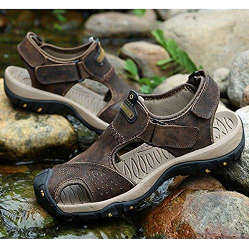 Trekking Herren Toe Fischer Boat Wasser Closed Athletic Einstellbare Flache Casual Outdoor Schuhe Sandalen Strand für Dunkelbraun LINNUO Outdoor wYaqpdxBw
