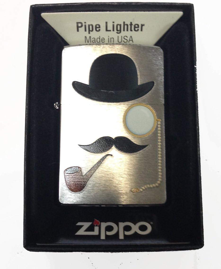 Zippo Custom Lighter - Smoking Man w/Top Hat, Pipe, Eye Glass & Mustache Rare!