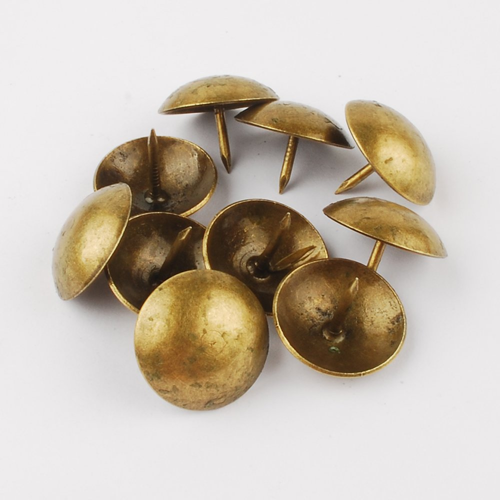 NW 50pcs Bronze Upholstery Tacks Antique Brass Furniture Nails Pins (19x15mm)