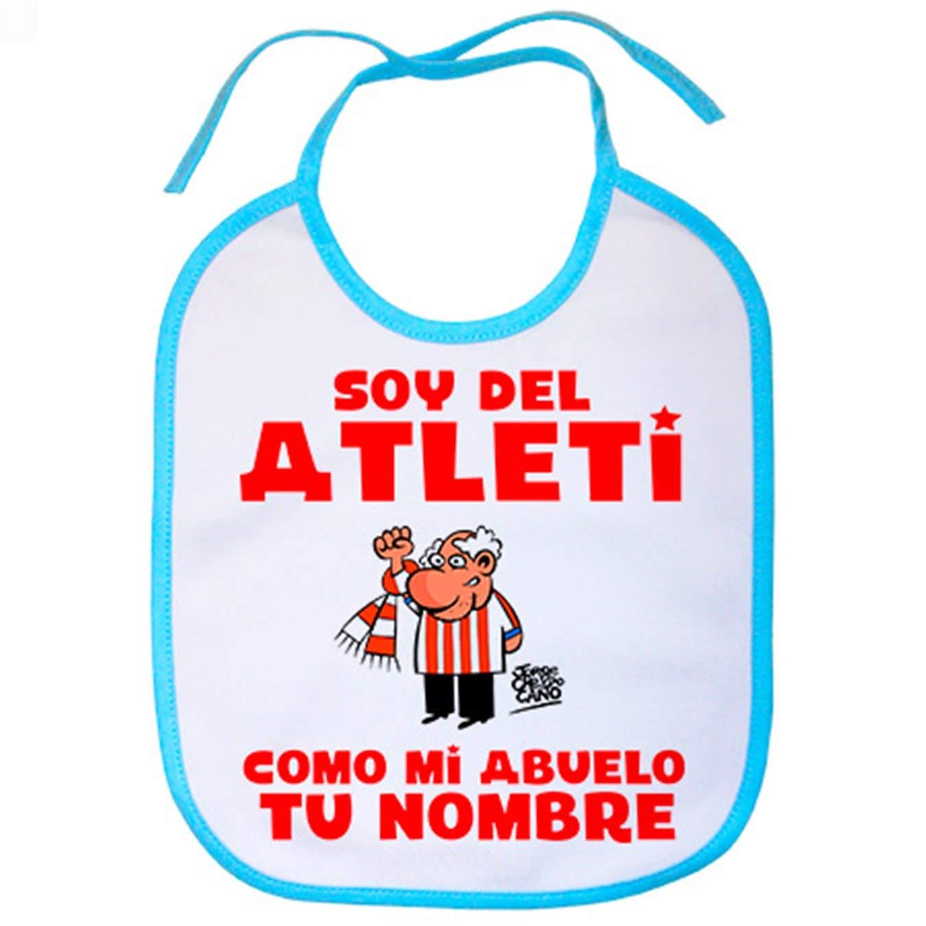 Babero soy del Atleti Atl/ético de Madrid como mi abuelo personalizable con nombre Celeste