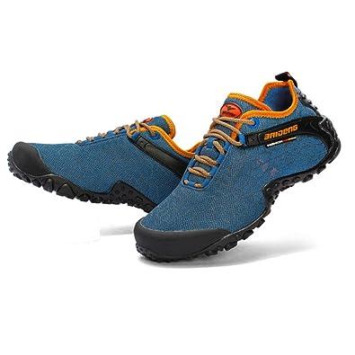 nihiug Randonnée Chaussures Hommes Imperméable en Cuir Été Chaussures D'été Respirant Mesh Chaussures Sneakers,Blue-39