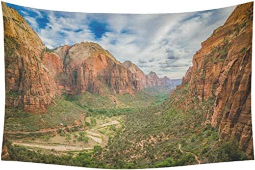 INTERESTPRINT Landscape Nature Scenery Wall Art Home Decor, Mountain Zion National Park Tapestry Wall Hanging Art Sets 60 X 40 Inches