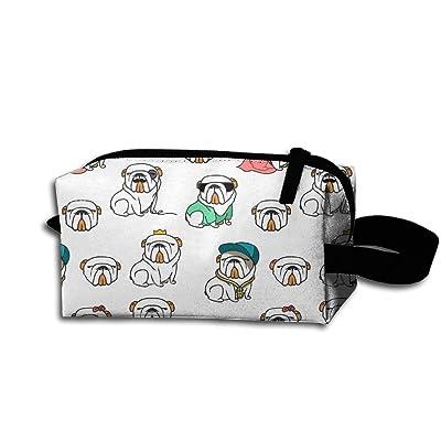 Wnihao Wearing A Crown Bulldog Bulldog Portable Make-up Receive Bag Hand Cosmetic Bag Makeup Bag Sewing Kit Medicine Bag For Travel&home.