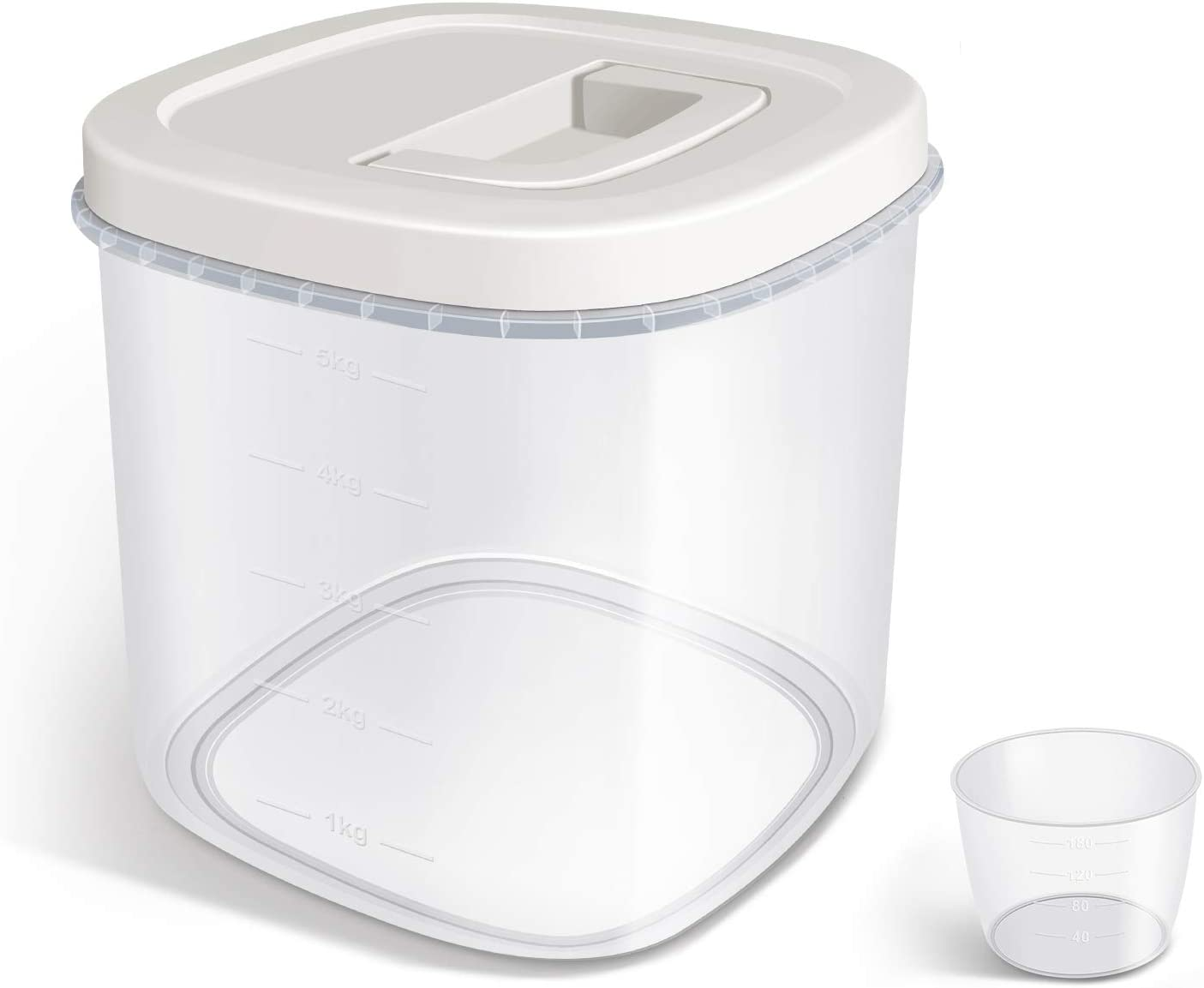 TBMax 10 Lbs Airtight Food Storage Container with Easy Seal Lid & Measuring Cup for Dry Food, Flour, Rice Storage and Kitchen Pantry Organization
