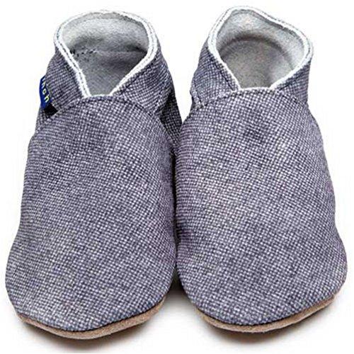 Inch Blue niñas niños funda de piel suave suela zapatos de para cochecito de bebé, color oscuro denim