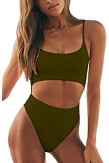 45a56dc24ee Meyeeka Womens Scoop Neck Cut Out Front Lace Up Back High Cut Monokini One  Piece Swimsuit
