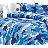 Clara Clark Colored Camouflage Goose Down Alternative Double Fill All Season Comforter, King, Ocean Blue