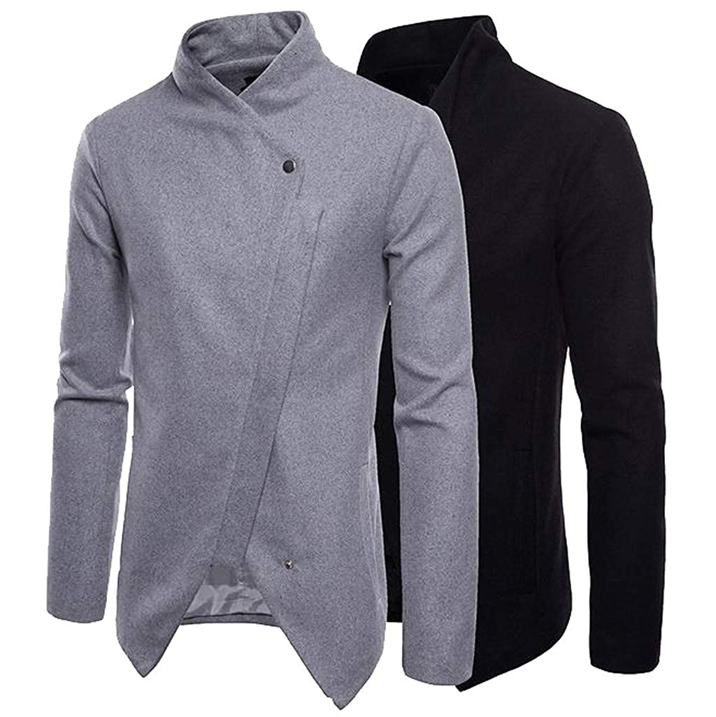 Yutao Mens Spring Winter Irregular Solid Color Button Long Sleeve Outwear Tops Blouse