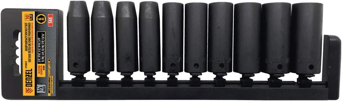 1//2-inch 7713567 DENZEL Socket Set 10-in-1 type SAE Drive size