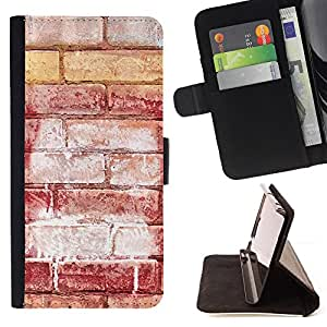 DEVIL CASE - FOR Samsung Galaxy S4 IV I9500 - Brick Wall Red Art Street Grafiti White - Style PU Leather Case Wallet Flip Stand Flap Closure Cover