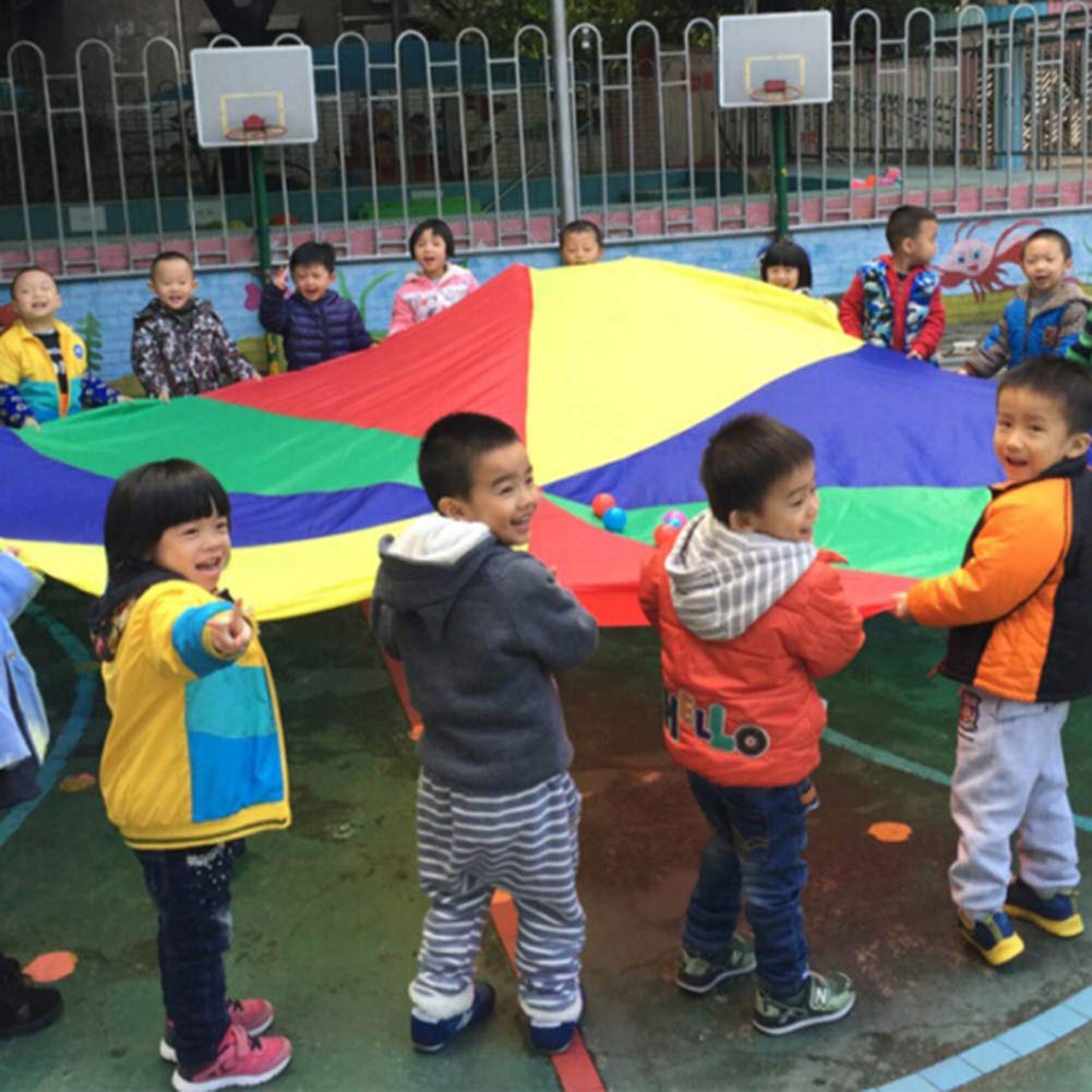 canghai Sports Multi-Colored Children's Team Building Parachute Rainbow Parachute Toy Tent for Children Gymnastic( L ) by canghai (Image #3)