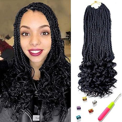 Senegal Twist Curly Goddess Crochet Hair Synthetic Hair Extension Senegalese Twist Hair Crochet Braids 18inch 6packs 30strands Pack