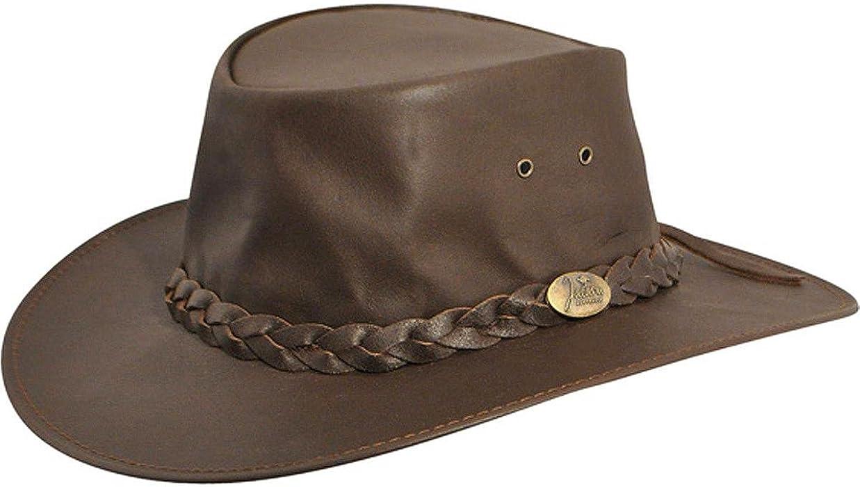 105db64aaea89 Jacaru Men's Kangaroo Leather Outback Hat - 1001Brn - Brown ...