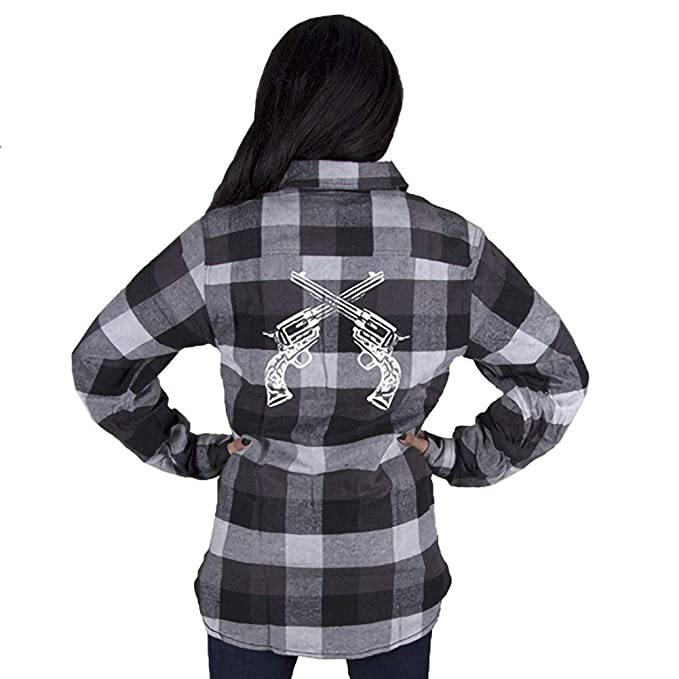 62cf7318 Image Unavailable. Image not available for. Color: Country Girl Women's  Pistols Long Sleeve Flannel Shirt