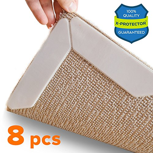 Rug Grippers X-PROTECTOR – Best 8 pcs Anti Curling Rug Gripper. Keeps Your Rug in Place & Makes Corners Flat. Premium Carpet Gripper with Renewable Gripper Tape – Ideal Anti Slip Rug Pad for Your Rugs (Waterproof Outdoor Flooring)