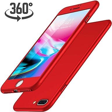 Funda iPhone 7 Plus + Protector de Pantalla de Vidrio Templado, Luckydeer Carcasa iPhone 7 Plus 360 Grados Ultra-Delgado Anti-Arañazos iPhone 7 Plus Funda Roja - Rojo (5.5 Pulgadas): Amazon.es: Electrónica