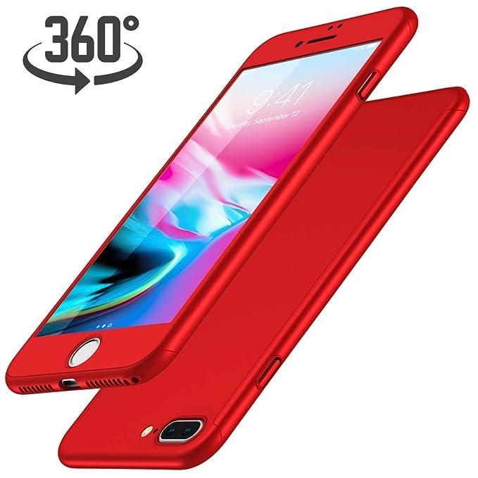 Funda iPhone 7 Plus + Protector de Pantalla de Vidrio Templado, Luckydeer Carcasa iPhone 7 Plus 360 Grados Ultra-Delgado Anti-Arañazos iPhone 7 Plus ...