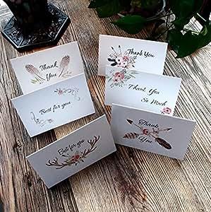 Amazon.com: 36 unidades tarjetas de agradecimiento de papel ...