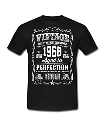 Spreadshirt 50th Birthday 1968 Birth Year Typography Slogan Mens T Shirt S Black