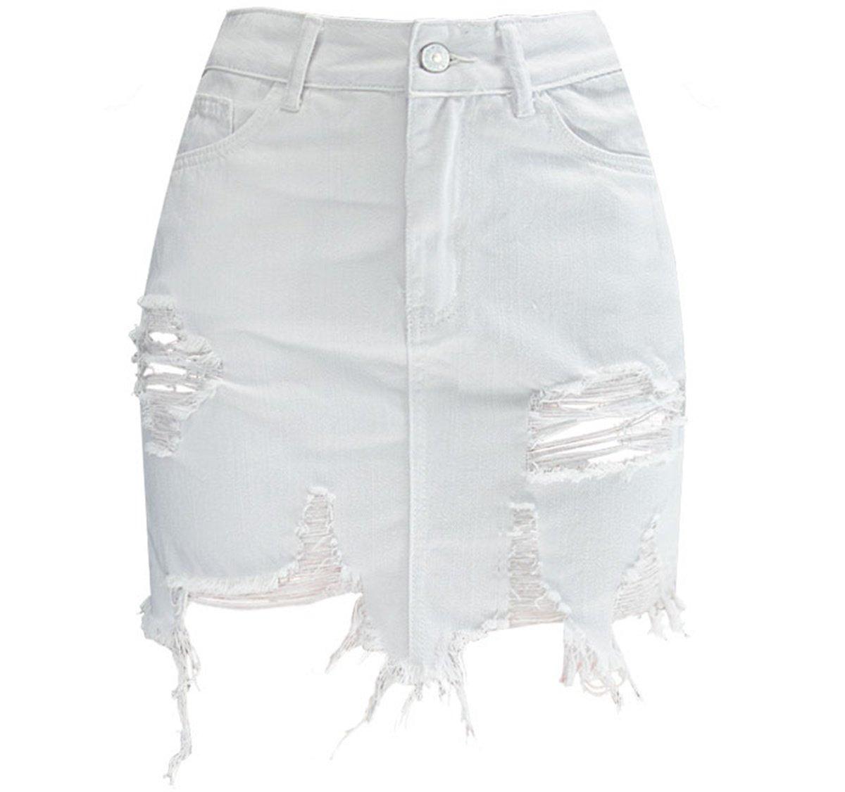 QINGFANG Women's Short Denim Skirt Women's Rip Denim Mini Skirt Red (White, S)