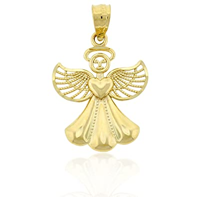 Amazon gold angel charm 14k solid gold pendants jewelry gold angel charm 14k solid gold aloadofball Choice Image