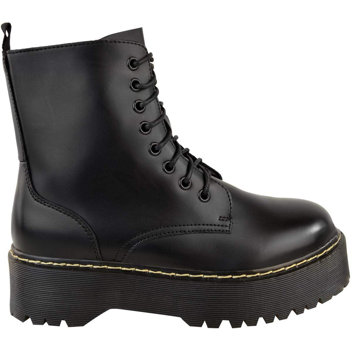 Womens Ladies Lace Up Doc Dm Combat Festival Punk Goth Ankle Boots Shoe Size Zip