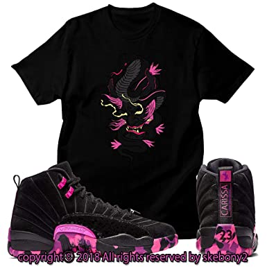 detailed look 5f33b 4ef49 Custom T Shirt Matching Air Jordan 12 Retro DB Pink JD 12-4-3 at Amazon  Men s Clothing store
