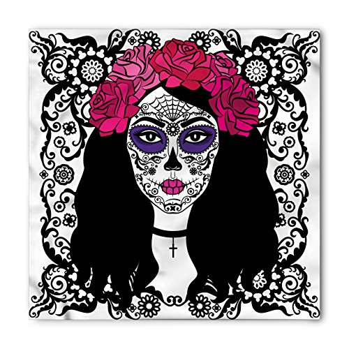 Ambesonne Unisex Bandana, Sugar Skull Girl with Make Up, Black White