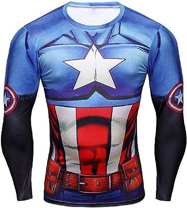 Camiseta Deportiva de Manga Larga con Estampado de capitán américa para Hombre - (XXL): Amazon.es: Ropa y accesorios